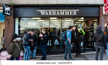 EXETER, DEVON, UK - February 01 2020: Warhammer shop on South Street on its opening day is busy with customers