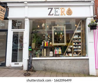 EXETER, DEVON, UK - March 02 2020: Zero shop front on Fore St. Zero Exeter is a family run zero waste food, home, gift, and interiors store