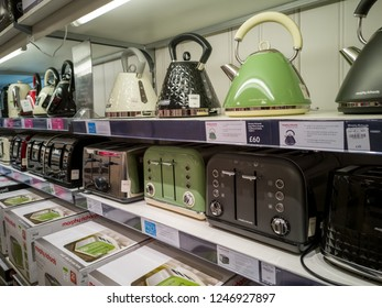 Exeter, Devon / UK - November 30, 2018: Kettles and toasters for sale at a Debenhams store