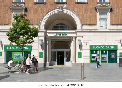 Exeter, Devon, United Kingdom - August 23, 2016: Lloyds bank branch on High street. Lloyds bank is the leading provider of current accounts, savings and personal accounts in the UK.