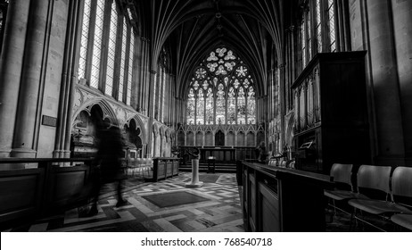 Exeter, England - Dec 04, 2017: Lady Chapel in Exeter Cathedral, Black and White Long Exposure Photography