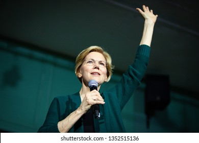 EXETER, NH - MARCH 15, 2019: Democratic 2020 U.S. presidential candidate Elizabeth Warren Campaigns in New Hampshire.