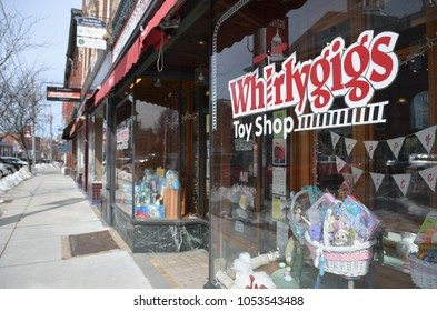Exeter, N.H./USA - March 23, 2018. As Toys R Us begins its final closing sale, small toy stores like Whrilygigs service Main Streets all over America.