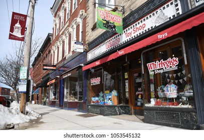 Exeter, N.H./USA - March 23, 2018: A small, neighborhood toy store in a downtown the week Toys R Us begins its going-out-of-business sale after filing for bankruptcy.