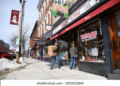 Exeter, N.H./USA - March 23, 2018: An independent toy store in a small downtown enjoys foot traffic on a cold Friday as corporate competitor Toys R Us goes out of business.
