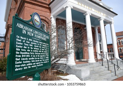 Exeter, N.H./USA - March 23, 2018: A historical marker commemorates Abraham Lincoln's speech at the old town hall in Exeter. Historical sites and old buildings attract tourists to New England towns.