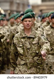 EXETER - NOVEMBER 16: Soldier from 3 Commando Brigade are march through Exeter City centre during the homecoming parade is for 3 Commando Brigade  on November 16 in Exeter, England