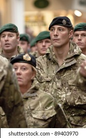 EXETER - NOVEMBER 16: Soldiers from 3 Commando Brigade are march through Exeter City centre during the homecoming parade is for 3 Commando Brigade  on November 16 in Exeter, England
