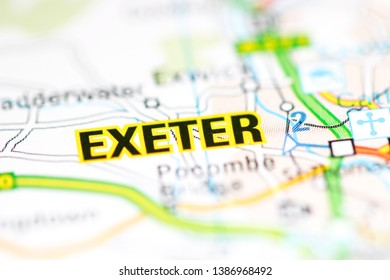 Exeter. United Kingdom on a geography map