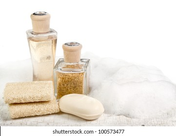 Exfoliation spa still life on a white aged background