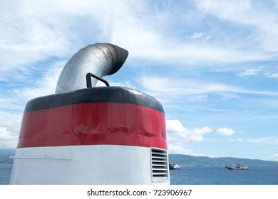 exhaust gas pipe ship, chimney, at funnel deck on blue sky background