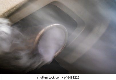 Exhaust gases come from the exhaust system of a diesel engine
