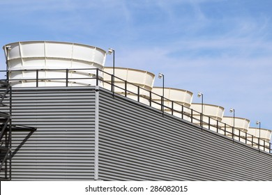 Exhaust stacks from an industrial power plant.