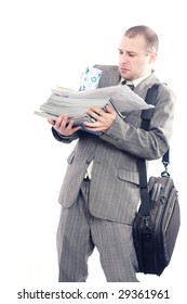 Exhausted businessman with too much work to do