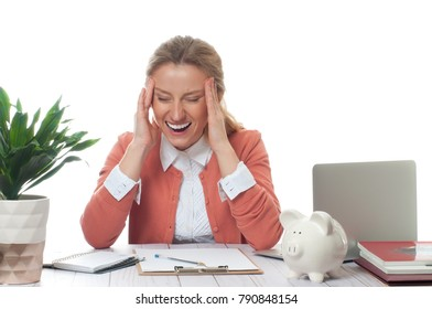 Exhausted businesswoman working at office desk is having an headache and stressful, too much work
