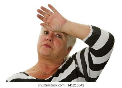 Exhausted female senior - isolated on white background