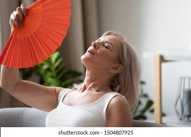 Exhausted older woman waving blue fan close up, suffering from heat, feeling unwell and uncomfortable, feeling uncomfortable, sweaty mature female cooling in hot summer weather, high temperature