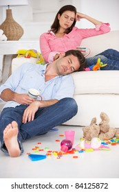 Exhausted parents resting