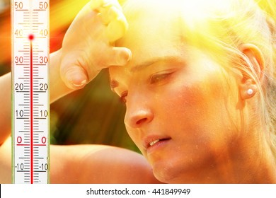 Exhausted woman in the summer heat