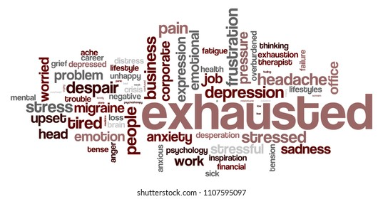 Exhausted word cloud on white background, 3D rendering