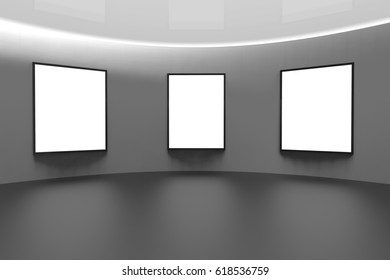 Exhibition Art Gallery and picture frame on Background / 3d rendering