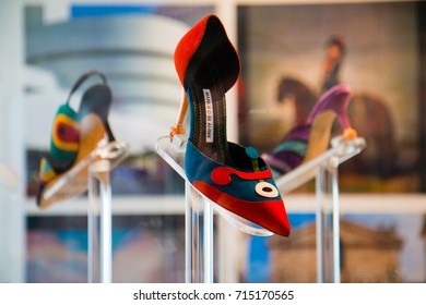Exhibition The Art of Shoes, Manolo Blahnik, Museum Kampa Sova's Mills in Prague, Czech Republic, August 23th 2017, Editorial photo