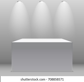 Exhibition Concept, White Empty Box, Stand with Illumination on Gray Background. Template for Your Content. 3d  Illustration