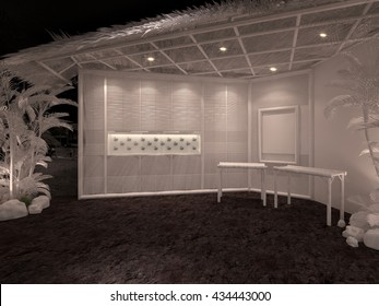 exhibition event white model bamboo 3D interior render illustration