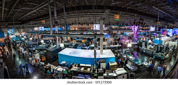 exhibition hall at Drupa print media fair 2016. Dsseldorf, Germany 05.06.2016