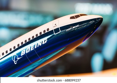 Exhibition models boeing aircraft 737 max. Russia, Moscow. July 2017