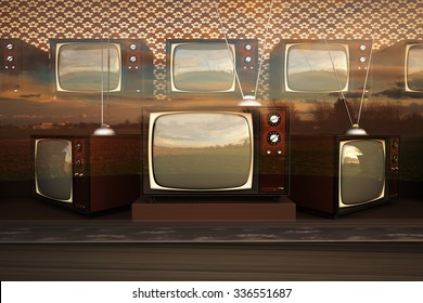 Exhibition Of Old Retro Color Tv Sets With Antenna