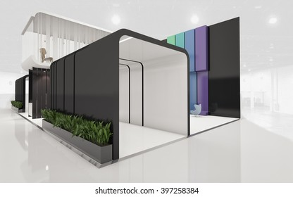 Exhibition Stand with 2 Levels 3d rendering