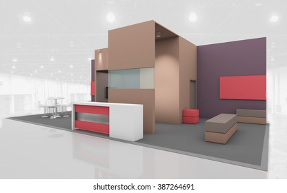 Exhibition Stand in Brown and Beige colors 3d Rendring