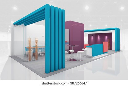 Exhibition Stand in Purple and Teal colors 3d Rendering