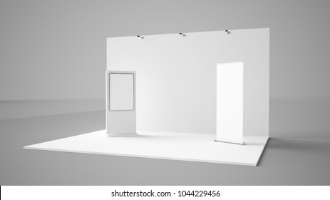 exhibition stand with roller and interactive screen 3d rendering