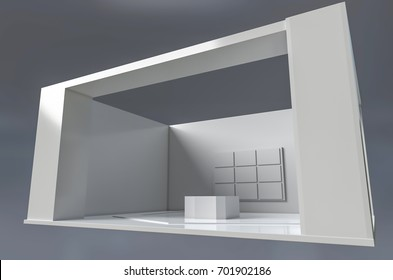 Exhibition stand template for branding and design . 3d illustration