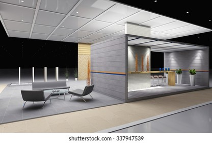 exhibition stand with tile and brick 3d Rendering