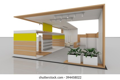 Exhibition Stand with wood   3d rendering
