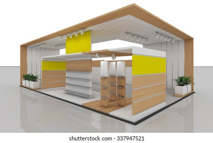 Exhibition Stand In Yellow And White 3d Rendering