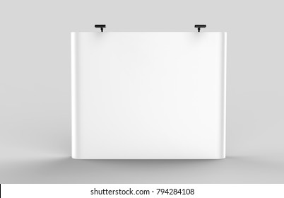 Exhibition Tension Fabric Display Banner Stand Backdrop for trade show advertising stand with LED OR Halogen Light . 3d render illustration.