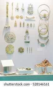 Exhibits of everyday people, antiquities in the Museum of the city of Shilovo, Ryazan area, Russia. decoration and elements of female dress Freight carriers of culture Ryazano-Oksky cemeteries
