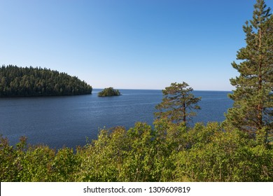 Exit from the bay of the island of Valaam, Nikolsky skete. The wonderful island Valaam is located on Lake Lodozhskoye, Karelia. Balaam - a step to heaven
