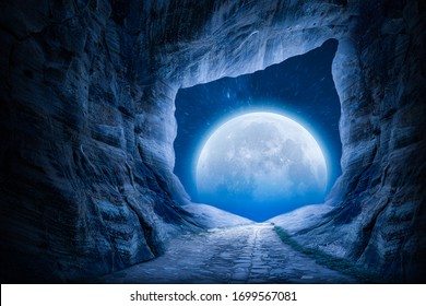 exit from the cave, night scene view, ful moon and stairy night.
