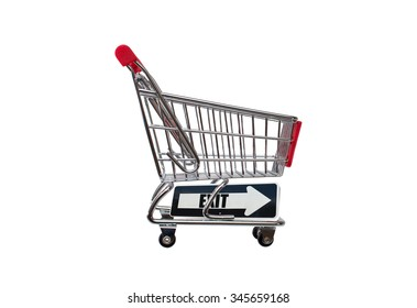 Exit directional arrow on empty shopping cart isolated on white background