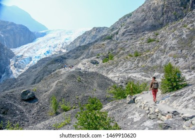 EXIT GLACIER, ALASKA/USA- 07/05/2019:  view of the Glacier Overlook Trail, a well maintained trail which provides views of Exit Glacier. Follow this moderately strenuous trail to the Glacier Overlook.