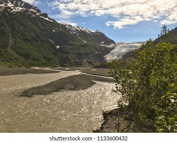 Exit glacier near Seward, Alaska, viewed from a distance.