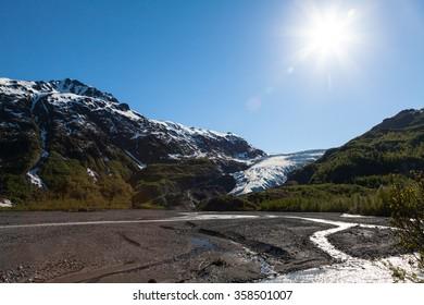 Exit Glacier Wide Angle View, Kenai Fjords National Park, Alaska