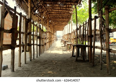 Exit made with bamboo of Paradise beach, Pondicherry(puducherry)