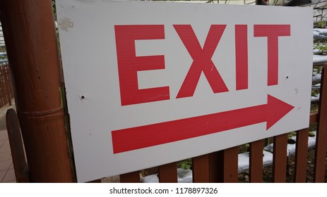 Exit sign in a park