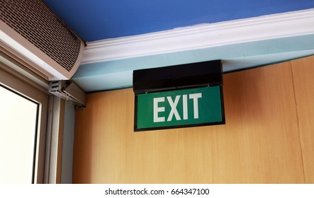 Exit sign in seminar room